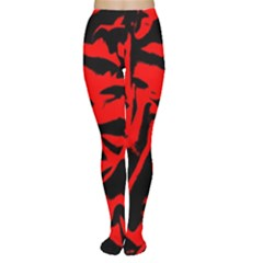 Red Black Retro Pattern Women s Tights by Costasonlineshop