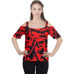Red Black Retro Pattern Women s Cutout Shoulder Tee by Costasonlineshop