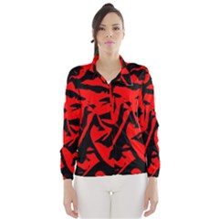 Red Black Retro Pattern Wind Breaker (women) by Costasonlineshop