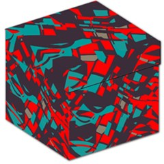 Red Blue Pieces Storage Stool by LalyLauraFLM