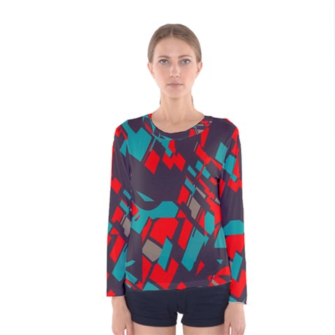 Red Blue Pieces Women Long Sleeve T-shirt by LalyLauraFLM