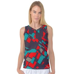 Red Blue Pieces Women s Basketball Tank Top by LalyLauraFLM