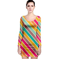 Colorful Diagonal Stripes Long Sleeve Bodycon Dress