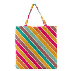 Colorful Diagonal Stripes Grocery Tote Bag by LalyLauraFLM