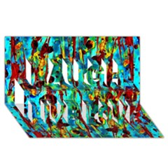 Turquoise Blue Green  Painting Pattern Laugh Live Love 3d Greeting Card (8x4)  by Costasonlineshop