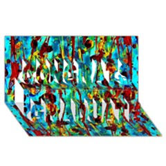 Turquoise Blue Green  Painting Pattern Congrats Graduate 3d Greeting Card (8x4)  by Costasonlineshop