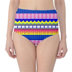 Rectangles Waves And Circles High-waist Bikini Bottoms by LalyLauraFLM