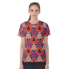 Triangles Honeycombs And Other Shapes Pattern Women s Cotton Tee by LalyLauraFLM