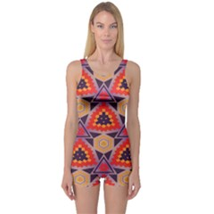Triangles Honeycombs And Other Shapes Pattern Women s Boyleg One Piece Swimsuit by LalyLauraFLM