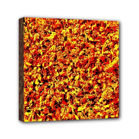 Orange Yellow  Saw Chips Mini Canvas 6  X 6  by Costasonlineshop