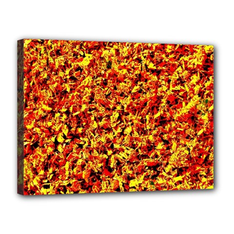 Orange Yellow  Saw Chips Canvas 16  X 12