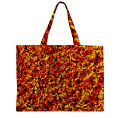 Orange Yellow  Saw Chips Zipper Tiny Tote Bags by Costasonlineshop