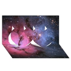 Trifid Nebula Twin Hearts 3d Greeting Card (8x4)