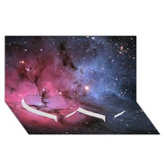 Trifid Nebula Twin Heart Bottom 3d Greeting Card (8x4)