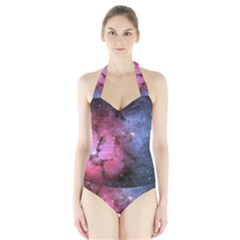 Trifid Nebula Women s Halter One Piece Swimsuit