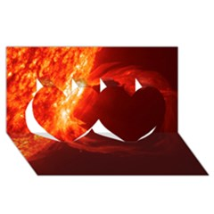 Solar Flare 1 Twin Hearts 3d Greeting Card (8x4)  by trendistuff