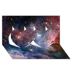 Carina Nebula Twin Hearts 3d Greeting Card (8x4)  by trendistuff