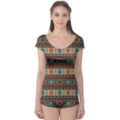 Southwest Design Turquoise And Terracotta Short Sleeve Leotard