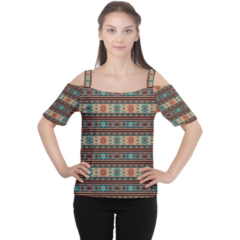 Southwest Design Turquoise And Terracotta Women s Cutout Shoulder Tee by SouthwestDesigns
