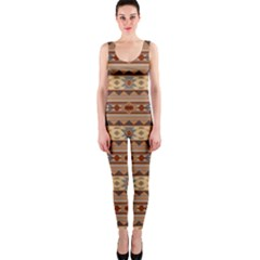 Southwest Design Tan And Rust Onepiece Catsuits