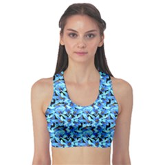 Turquoise Blue Abstract Flower Pattern Sports Bra by Costasonlineshop