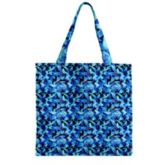 Turquoise Blue Abstract Flower Pattern Zipper Grocery Tote Bags by Costasonlineshop