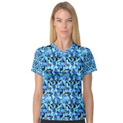 Turquoise Blue Abstract Flower Pattern Women s V Neck Sport Mesh Tee by Costasonlineshop