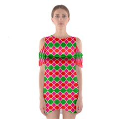 Red Pink Green Rhombus Pattern Women s Cutout Shoulder Dress