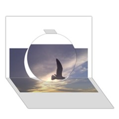 Fly Seagull Circle 3d Greeting Card (7x5)  by Jamboo