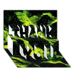 Green Northern Lights Thank You 3d Greeting Card (7x5)  by Costasonlineshop