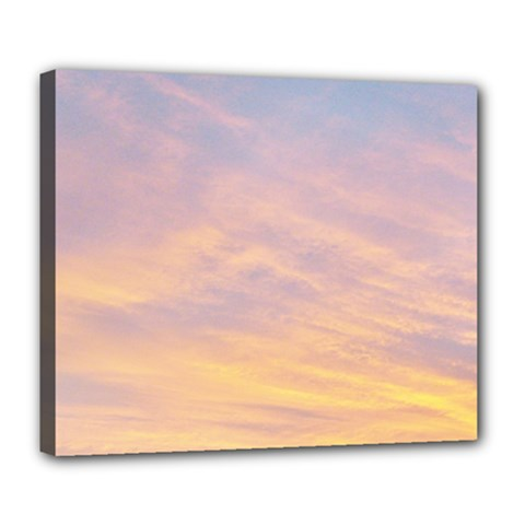 Yellow Blue Pastel Sky Deluxe Canvas 24  X 20   by Costasonlineshop