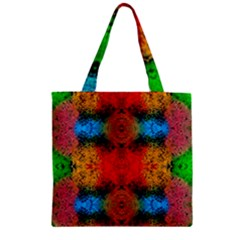 Colorful Goa   Painting Zipper Grocery Tote Bags by Costasonlineshop