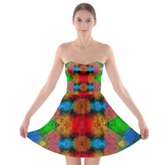 Colorful Goa   Painting Strapless Bra Top Dress