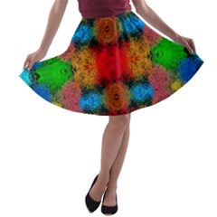 Colorful Goa   Painting A Line Skater Skirt by Costasonlineshop