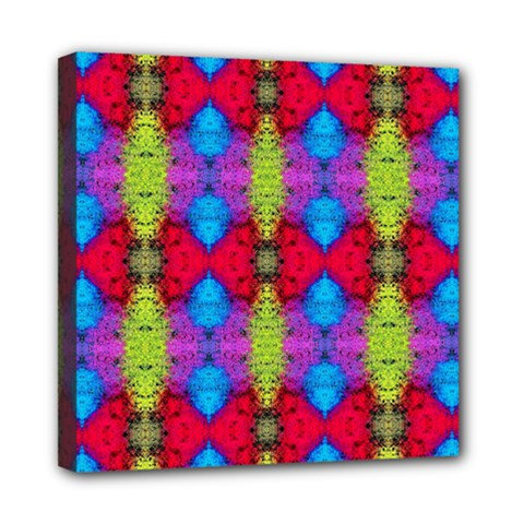 Colorful Painting Goa Pattern Mini Canvas 8  X 8  by Costasonlineshop