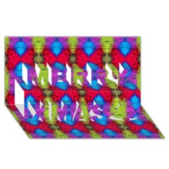 Colorful Painting Goa Pattern Merry Xmas 3d Greeting Card (8x4)  by Costasonlineshop