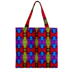 Colorful Painting Goa Pattern Zipper Grocery Tote Bags by Costasonlineshop