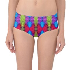 Colorful Painting Goa Pattern Mid Waist Bikini Bottoms by Costasonlineshop