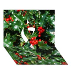 Holly 2 Ribbon 3d Greeting Card (7x5)  by trendistuff