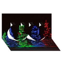 Christmas Lights 1 Twin Hearts 3d Greeting Card (8x4)  by trendistuff