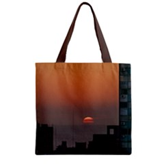 Aerial View Of Sunset At The River In Montevideo Uruguay Zipper Grocery Tote Bags by dflcprints
