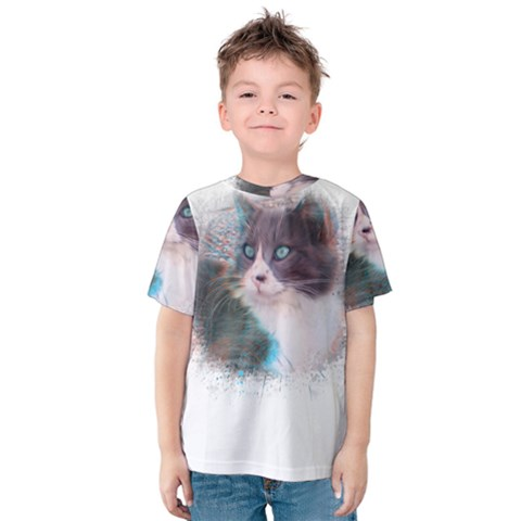 Cat Splash Png Kid s Cotton Tee by infloence