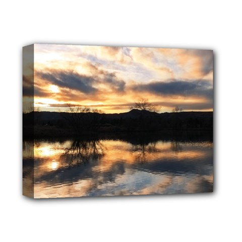Sun Reflected On Lake Deluxe Canvas 14  X 11  by trendistuff