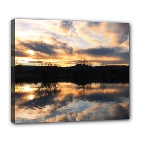 Sun Reflected On Lake Deluxe Canvas 24  X 20   by trendistuff