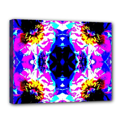 Animal Design Abstract Blue, Pink, Black Canvas 14  X 11