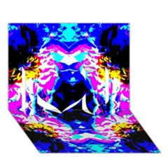Animal Design Abstract Blue, Pink, Black I Love You 3d Greeting Card (7x5)  by Costasonlineshop