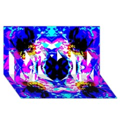 Animal Design Abstract Blue, Pink, Black Mom 3d Greeting Card (8x4)  by Costasonlineshop
