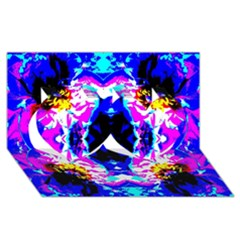 Animal Design Abstract Blue, Pink, Black Twin Hearts 3d Greeting Card (8x4)  by Costasonlineshop