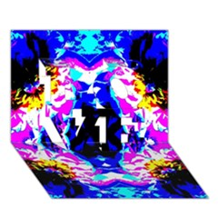 Animal Design Abstract Blue, Pink, Black Love 3d Greeting Card (7x5)  by Costasonlineshop