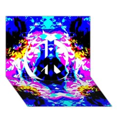 Animal Design Abstract Blue, Pink, Black Peace Sign 3d Greeting Card (7x5)  by Costasonlineshop
